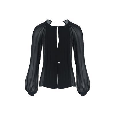 pin-tuck detail back open blouse